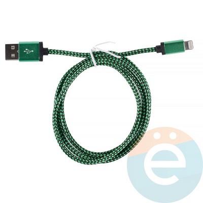 USB кабель на Lightning плетёный в техпаке зелёный - фото 12766