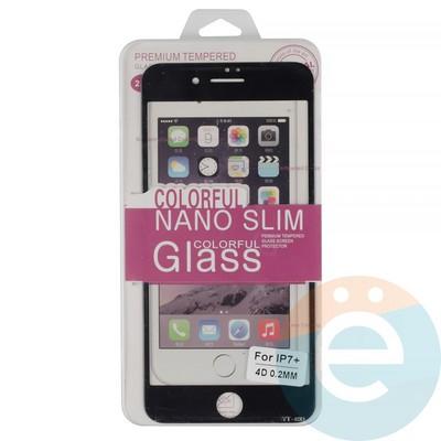 Защитное стекло 3D fiber с мягкими краями на Apple iPhone 7 Plus/8 Plus чёрное - фото 14937