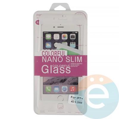 Защитное стекло 3D fiber с мягкими краями на Apple iPhone 7 Plus/8 Plus белое - фото 14938