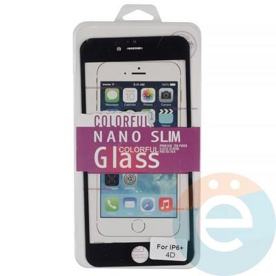 Защитное стекло 3D fiber с мягкими краями на Apple iPhone 6 Plus/6s Plus чёрное - фото 14939