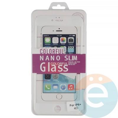 Защитное стекло 3D fiber с мягкими краями на Apple iPhone 6 Plus/6s Plus белое - фото 14940
