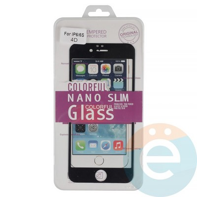 Защитное стекло 3D fiber с мягкими краями на Apple iPhone 6/6s чёрное - фото 14942