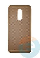 Накладка пластиковая перфорированная на Xiaomi Redmi 5 Plus золотистая