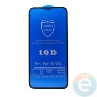 Защитное стекло 10D с полной проклейкой на Apple iPhone XR чёрное