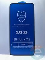 Защитное стекло 10D с полной проклейкой на Apple iPhone X чёрное