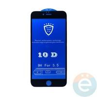 Защитное стекло 10D с полной проклейкой на Apple iPhone 6 Plus/6s Plus чёрное