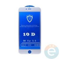 Защитное стекло 10D с полной проклейкой на Apple iPhone 6 Plus/6s Plus белое
