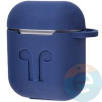 Чехол силиконовый для наушников Apple AirPods с карабином тёмно-синий