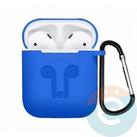 Чехол силиконовый для наушников Apple AirPods с карабином светло-синий