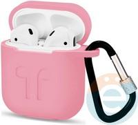 Чехол силиконовый для наушников Apple AirPods с карабином розовый