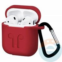 Чехол силиконовый для наушников Apple AirPods с карабином бордовый