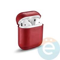 Чехол кожаный для наушников Apple AirPods красный