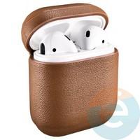 Чехол кожаный для наушников Apple AirPods коричневый