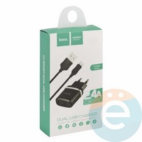 Сетевой адаптер HOCO C12 Dual USB Charger 2.4A + кабель micro usb чёрный