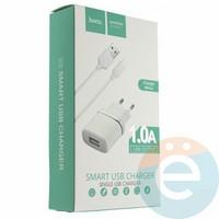 Сетевой адаптер HOCO C11 ONE USB Charger + кабель micro usb белый