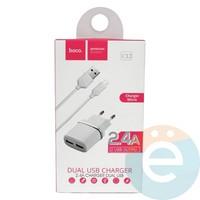 Сетевой адаптер HOCO C12 Dual USB Charger 2.4A + кабель micro usb белый