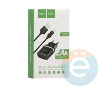 Сетевой адаптер HOCO C12 Dual USB Charger 2.4A + кабель Lightning чёрный