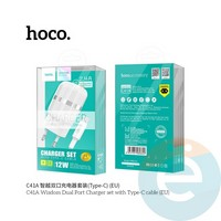 Сетевой адаптер HOCO C41A 2xUSB 2.4A + кабель Type-c белый