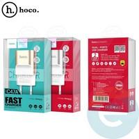 Сетевой адаптер HOCO C47A Metal 2xUSB 2.4A золотистый