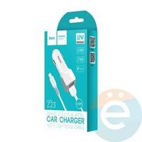 Автомобильное зарядное устройство HOCO Z23 2 USB 2.4A + Ligtning белое