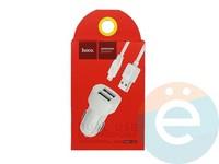 Автомобильное зарядное устройство HOCO Z2A 2 USB 2.4A + Ligtning белое