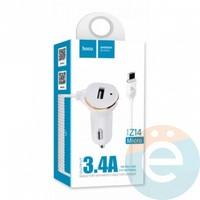 Автомобильное зарядное устройство HOCO Z14 1 USB 3.4A + Micro USB белое