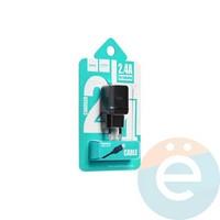 Сетевой адаптер HOCO C22A ONE USB Charger 2.4A + кабель Lightning чёрный