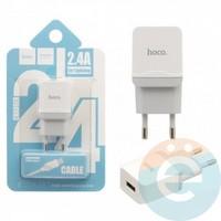 Сетевой адаптер HOCO C22A ONE USB Charger 2.4A + кабель Lightning белый