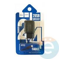 Сетевой адаптер HOCO C33A DUAL USB Charger 2.4A + кабель Lightning чёрный