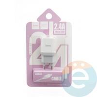 Сетевой адаптер HOCO C22A ONE USB Charger 2.4A + кабель Micro usb белый