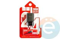 Сетевой адаптер HOCO C33A DUAL USB Charger 2.4A + кабель Micro usb чёрный