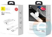 Сетевой адаптер Baseus TZTUN-BJ02 1USB 1.0A 3.0 + кабель USB-C на Lightning белый