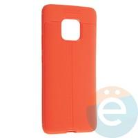 Накладка силиконовая 360 с кожаными вставками на Huawei Mate 20 Pro красная
