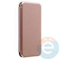 Чехол книжка боковой Fashion Case для iPhone X розово-золотистый