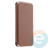 Чехол книжка боковой с силиконовой окантовкой для Huawei Honor 9 Lite розово-золотистый