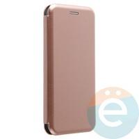 Чехол книжка боковой с силиконовой окантовкой для Huawei P20 Lite розово-золотистый