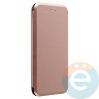 Чехол книжка боковой с силиконовой окантовкой для Huawei Nova 3 розово-золотистый