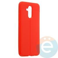 Накладка силиконовая 360 с кожаными вставками на Huawei Mate 20 Lite красная