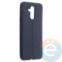 Накладка силиконовая 360 с кожаными вставками на Huawei Mate 20 Lite синяя