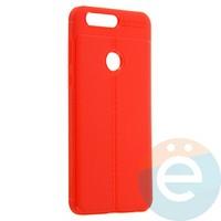 Накладка силиконовая 360 с кожаными вставками на Huawei Honor 8 красная
