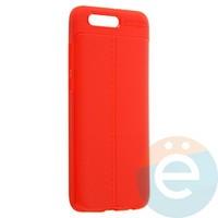 Накладка силиконовая 360 с кожаными вставками на Huawei Honor 9 красная