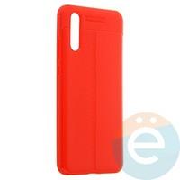 Накладка силиконовая 360 с кожаными вставками на Huawei P20 красная