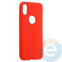 Накладка силиконовая 360 с кожаными вставками на Iphone Xs красная