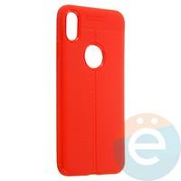 Накладка силиконовая 360 с кожаными вставками на Iphone Xs Max красная