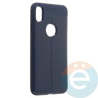 Накладка силиконовая 360 с кожаными вставками на Iphone Xs Max синяя