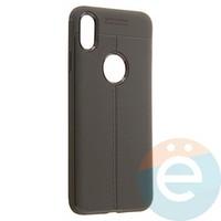 Накладка силиконовая 360 с кожаными вставками на Iphone Xs Max серая