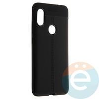 Накладка силиконовая 360 с кожаными вставками на Xiaomi Redmi Note 6 Pro чёрная