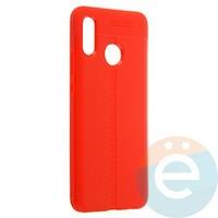 Накладка силиконовая 360 с кожаными вставками на Huawei Nova 3 красная