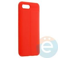Накладка силиконовая 360 с кожаными вставками на Huawei Honor 10 красная
