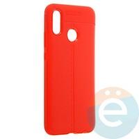 Накладка силиконовая 360 с кожаными вставками на Huawei P20 Lite красная